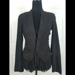 Rebecca Taylor Leather Suede Black Jacket Fringe